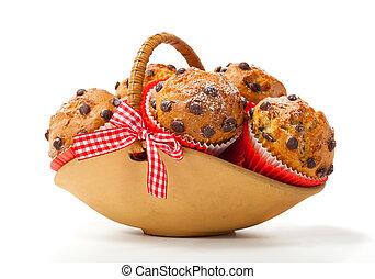 松餅, 在, a, 籃子, 被隔离, 在懷特上, 背景