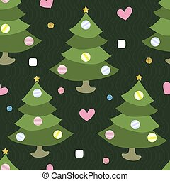 松, きらめき, 木, パターン, 背景, ボール, 季節, クリスマス, カラフルである, seamless
