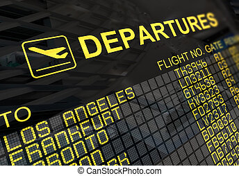 板, インターナショナル, 出発, 空港