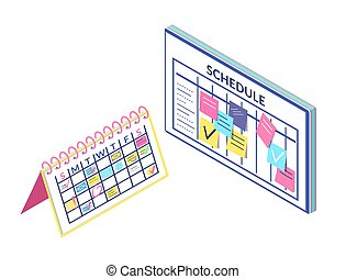 板, スケジュール, 隔離された, 情報, カレンダー
