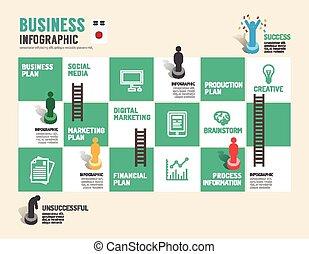 板, ステップ, ビジネス, 成功した, イラスト, ゲーム, ベクトル, infographic, 概念