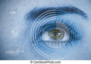 板, チャート, 分析, 回路, 終わり, 青, interfaces, の上, 目, 女