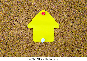 板, ノートペーパー, くぎ付けにされた, コルク, 黄色, ブランク