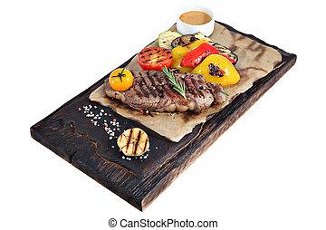 板, ペーパー, ribeye, wood., 燃やされる, 羊皮紙, ステーキ