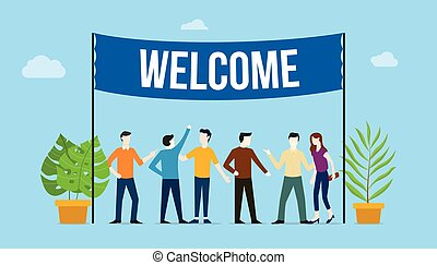 板, 人们商业, 概念, 绿色的树, 植物, 矢量, 大的征候, 队, 欢迎, 旗帜, 顶端, 欢迎, -