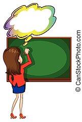 板, 執筆, 空, 考え, 教師