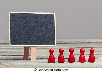 板, 小片, スペース, チームワーク, 概念, コピー, 赤, 黒板