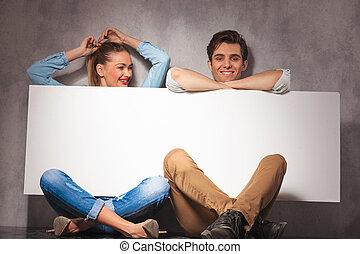 板, 恋人, 持つこと, 幸せ, 楽しみ, 提出すること, ブランク, 大きい, 間