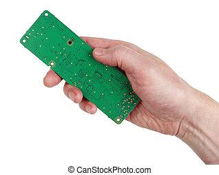 板, 新しい, 回路, 電子, エンジニア, 隔離された, もつ, 技術者, 緑