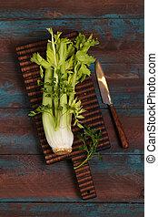 板, 木制, 綠色莖, 新鮮, 芹菜