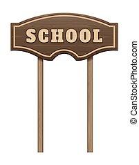 板, 木製である, ポインター, 学校, 碑文