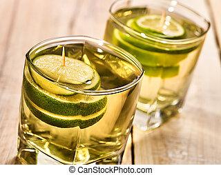 板, 木製である, 飲みなさい, 2, 緑, lime., ガラス
