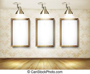 板, 木製である, lights., 床, vector., ショールーム, 白