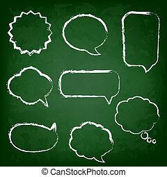 板, 泡, チョーク, セット, 緑, スピーチ