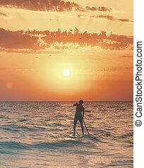 板, 海, 一口, 浮く, sunset., 人
