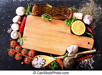 板, 烹調, 產品, 木制, 空, 各種各樣