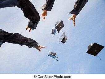 板, 生徒, モルタル, 空, に対して, 空気, 投げる