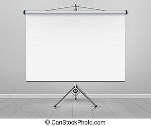 板, 背景, プレゼンテーション, screen., 予測, マーカー, whiteboard, オフィス, フレーム, 空, floor., 木製である