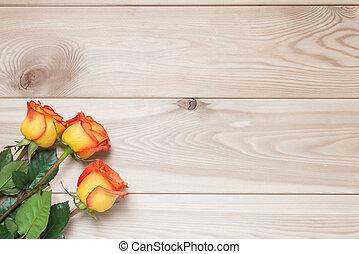 板, 花束, 3, ばら, の上, 木製である, 休日, 光景