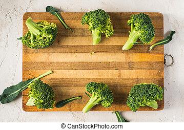 板, broccoli, 木制, 新鮮