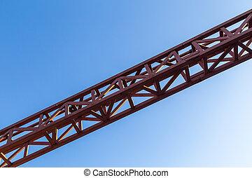 构架, 紅色, 直接, 天空, 銲接, 藍色, 鋼, 背景