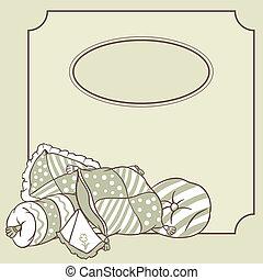 枕头, 矢量, 卡片, 政党。, pajama, frame.