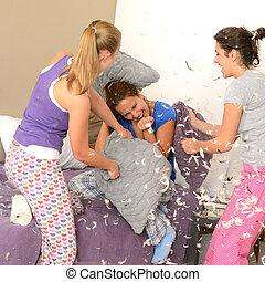 枕, 女の子, ティーネージャー, 戦い, 寝室