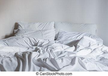 枕, 白, シート, ベッド, 概念, 寝具, きたない
