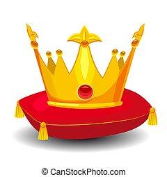枕, 金の王冠, イラスト, ベクトル, 石, とても, 漫画, 赤, スタイル