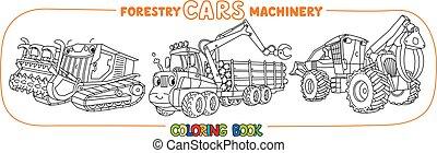林業, セット, 着色, 機械類, 自動車, 目