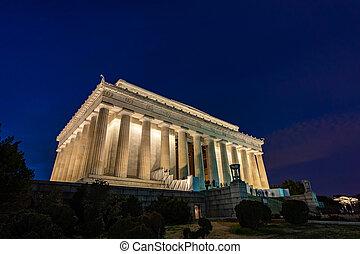 林肯, 華盛頓, 紀念館, 美國, dc