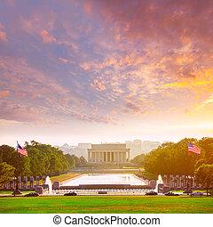 林肯, 華盛頓, 紀念館, dc, 傍晚, 亞伯拉罕