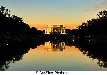 林肯, 華盛頓, 紀念館, dc, 紀念碑, 傍晚