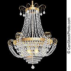 枝形吊燈, 由于, 水晶, 垂飾, 上, the, 黑色