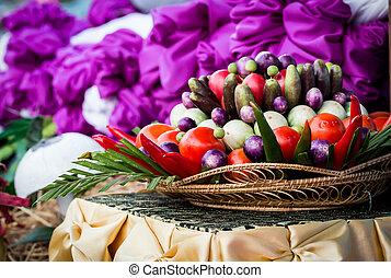 枝編み細工のバスケット, 野菜
