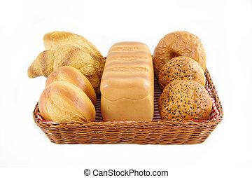 枝編み細工, 隔離された, バスケット, 白, 回転する, bread