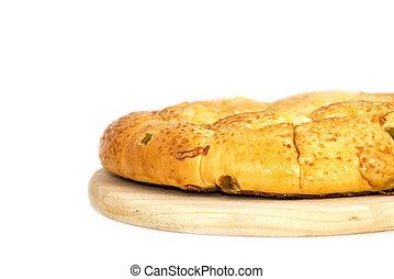枝編み細工, 隔離された, 構成, バスケット, 白, 回転する, bread