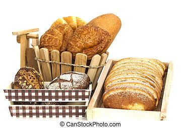 枝編み細工, backgound, 隔離された, 回転する, バスケット, 白, 構成, bread