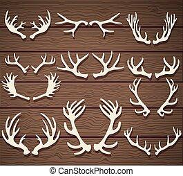 枝角, 木製である, セット, 鹿, 無作法