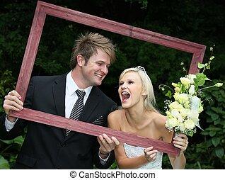 枠にはめられた, 恋人, 幸せ, 結婚式