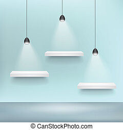 架子, 為, 展覽, 空白, 樣板, 以及, 光