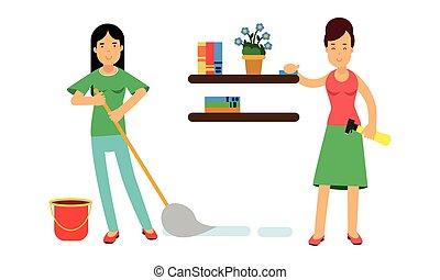 架子, 精力旺盛, 放置, 掸灰, 描述, 扫荡, 地板, 矢量, 家庭主妇
