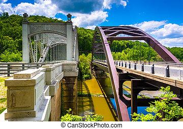架桥, 巴尔的摩, 结束, 水库, maryland., 湖raven