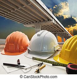 架桥, 横越, 道路接合, 同时,, 土木工程师, warking, 桌子, 使用, 为, 城市, infra, 结构,...