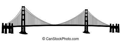 架桥, francisco, 艺术, san, 夹子, 金色的门