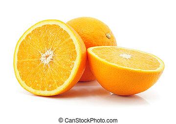 柑橘類, オレンジ, フルーツ, 隔離された, 白