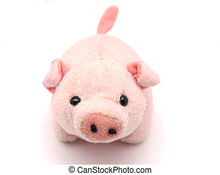 柔らかい おもちゃ, 豚, 上に, a, 白い背景