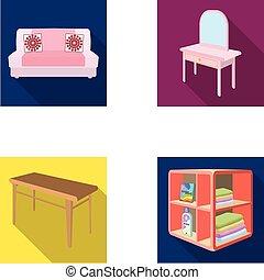 柔らかい, ソファー, トイレ, 構造のテーブル, 食事をしているテーブル, なだらかに傾斜する, ∥ために∥, 洗濯物, そして, detergent., 家具, そして, 内部, セット, コレクション, アイコン, 中に, 平ら, スタイル, 等大, ベクトル, シンボル, 株イラスト, web.