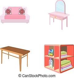 柔らかい, ソファー, トイレ, 構造のテーブル, 食事をしているテーブル, なだらかに傾斜する, ∥ために∥, 洗濯物, そして, detergent., 家具, そして, 内部, セット, コレクション, アイコン, 中に, 漫画, スタイル, 等大, ベクトル, シンボル, 株イラスト, web.