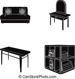 柔らかい, ソファー, トイレ, 構造のテーブル, 食事をしているテーブル, なだらかに傾斜する, ∥ために∥, 洗濯物, そして, detergent., 家具, そして, 内部, セット, コレクション, アイコン, 中に, 黒, スタイル, 等大, ベクトル, シンボル, 株イラスト, web.
